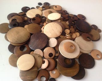 Mixed Lot Wooden Donut Beads, Great for earrings, pendants -  wooden beads, Go Go Beads