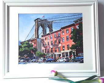 Brooklyn Bridge Painting Framed in White Brooklyn Dumbo NYC New York City Ready to Hang, 16x20 White Frame 11x14 inch Print by Gwen Meyerson