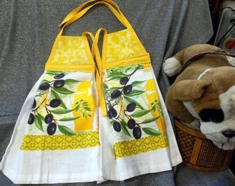 Hanging Printed Kitchen Terry Tie Towels, Yellow Calico Print Top