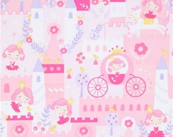 213274 pink and light pink cute princess horse castle fabric by Timeless Treasures