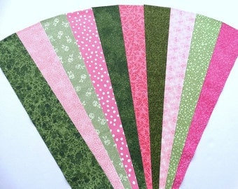 Green Pink Jelly Roll Quilt Strip Pack Cotton Quilting Fabric Die Cut, 20 Strips (sku JR210-GRPIgd)
