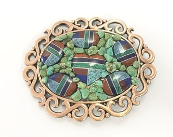 Turquoise and Copper buckle, sold by each