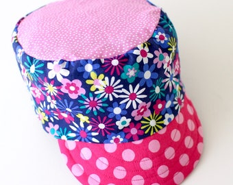 Baby and Toddler Girl's Conductor Cap, Sun Hat, Summer Beach Wear, Pink and Purple Flowers, Cadet Cap, Military Cap