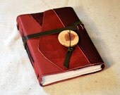 Medium Pink Leather Patchwork Journal with Recycled Paper