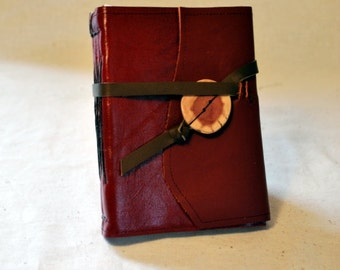 SUMMER SALE:  Red Flame Leather Journal with Recycled Paper-Medium