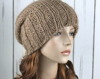 Hand knit hat woman winter hat camel Wool Hat slouchy hat