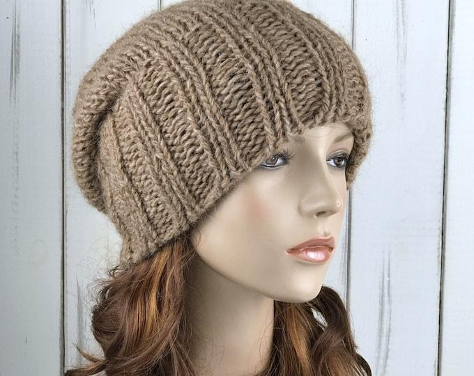 Hand knit hat woman winter hat camel Wool Hat slouchy hat