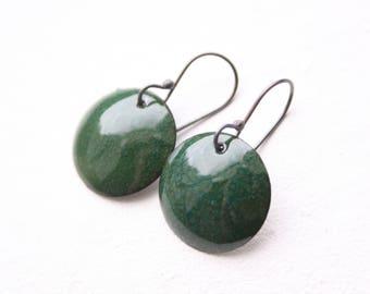 Enamel earrings - dark green