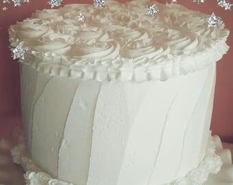 Fake White Cake with Rosettes. Jumbo Smash Cake Prop, First Birthday Photo Prop. 12 Legs Design