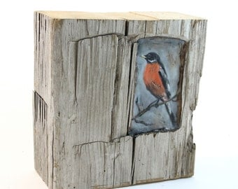 Hiding places by Ingrid Blixt - Morning Robin - original encaustic mixed media carved in reclaimed barn wood