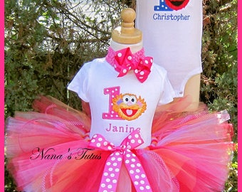 Twins , His and Hers,Sesame Street, Party Outfits,Theme Party,Birthday Tutu Sets,Personalized,Photo Shoot  Sizes to 2yrs