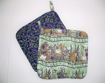 Cat in the Garden, Pot Holders, Set of 2, Trivet, Hot Pad, Green & Purple Potholder, Insulated, Hostess Gift, Made in America