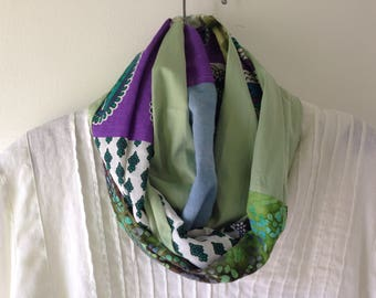 Scarf, India block print, hand dyed, long tribal batik indie fashion for women, teal blue green purple white boho Bohemian cotton Lhasa 904