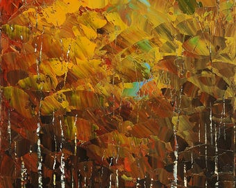 Authentic fine art print on CANVAS of original landscape painting PRIVATE LAKE birch trees forest water autumn - by Iliina