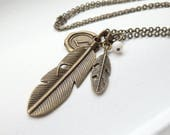 Boho Feather Personalized Long Necklace