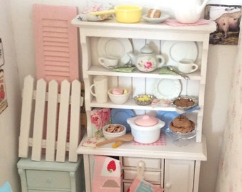 Shabby style Miniature Dollhouse China Hutch and accessories-1:12 scale