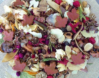 North Woods Country Potpourri, Room Scent, Maple Leaves, Hand Blended, Botanicals,Saltdoughs, Rustic, Fall Potpourri, Refresher Oil Included