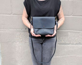 Small Leather Purse, Crossbody, in Brown or Black