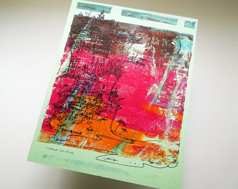 CLIFFHANGER #79 original California beach print in rani pink and tangerine on mint by Kathryn DiLego