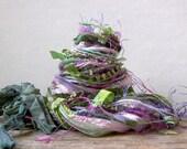 herbs de provence fringe effects™   art yarn bundle 21 yard luxury fibers ribbons sari silk . lavender violet purple mint sage moss green