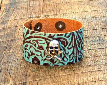 Skull and Crossbones Leather Cuff Bracelet rustic rocker girl vibe chic fashion style edgy festival ready adjustable snaps turquoise brown