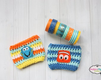 Coffee Cup Cozy { Finding Fish Friends }  clownfish, orange, blue tang Summer Coffee mug sweater, first birthday, treat bags, party favors