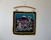 VINTAGE painted velvet japan souvenir PILLOW COVER