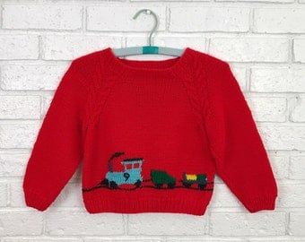 SALE! Hand Knitted Child's Cozy Red Train Sweater / Pullover Locomotive Engine Caboose