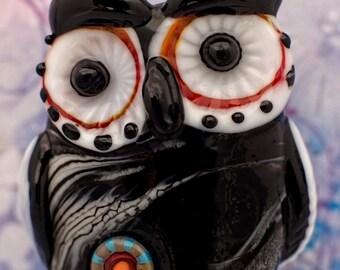 Squiggy.... lampwork owl bead, sra