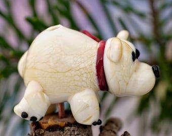 Pauli... lampwork polar bear bead...... sra