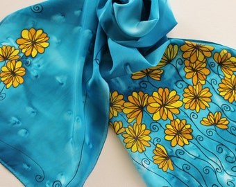 Hand Painted Silk Scarf - Handpainted Scarves Flowers Floral Yellow Gold Mustard Blue Royal Cerulean Black Daisy