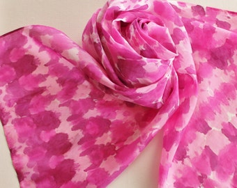 Hand Painted Silk Scarf - Handpainted Scarves Tie Dyed Pink Breast Cancer Cure Bubblegum Magenta Fuchsia Strawberry Raspberry Wine White