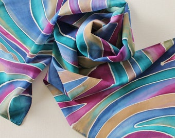 Hand Painted Silk Scarf - Handpainted Scarves Navy Blue Teal Green Wine Pink Magenta Khaki Tan Beige Abstract