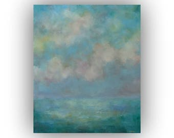 Abstract Landscape Oil Painting- 20 x 24 Blue and Green Field Sky and Clouds Art on Canvas- Original Palette Knife Painting