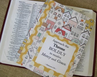 Legacy Prayer Journal, Bound Book, Multicolored Houses with Mustard and Cream Polka Dot Accents