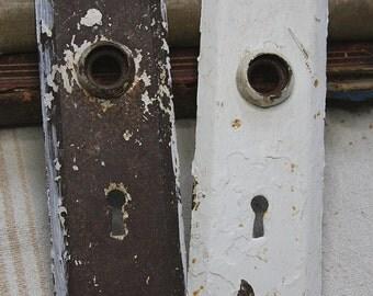 White Chippy Paint ESCUTCHEON Plates-Old Door Hardware- Door Knob Plate- Salvaged Metal Hardware