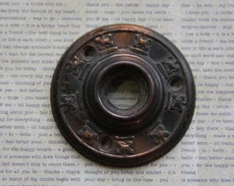 Vintage Rosette- Antique DOOR HARDWARE- Salvaged Escutcheon Door Plate- Detailed Metal Hardware Rosette