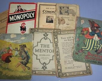 Vintage BOOK COVERS- Bunny Bounce Sheet Music- Corona Typewriter Monopoly Paper Ephemera- Sepia Toned Pages- Early 1900's