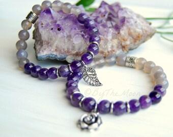 Amethyst Bracelet, Amethyst Stretch Bracelet, February Birthstone, Valentines Gift, Gift For Her, Rose Bracelet, Leaf Bracelet, Gemstone