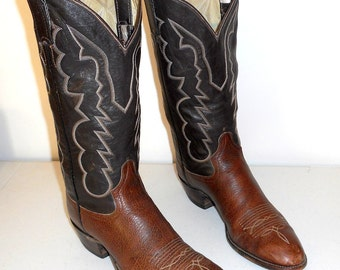 Brown Cowboy Boots 11 B Mens Shoes Adams Boot Company Western Rockabilly Narrow