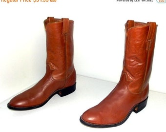 ON SALE Caramel Brown Rockabilly style Tony Lama cowboy boots size 9 D or cowgirl size 10 to 10.5