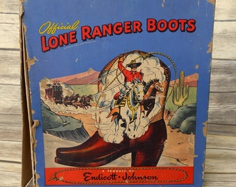 Lone Ranger Cowboy Boots Box Kids Shoes Horse Western Ranch Barn Decor Vintage