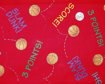 """100% Cotton Fabric 1.75 yards x 45"""" wide VIP Cranston OOP Basketball Red Sports Balls"""