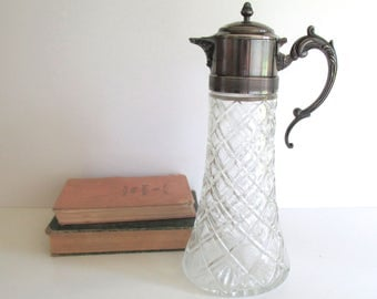 Antique Glass Water Carafe - Wine Decanter - Claret - Silver Plate Lid and Handle - Quilted Depression Glass Pitcher - Bar Cart