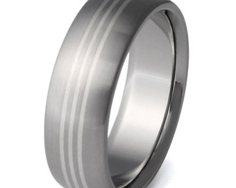 Silver Titanium Wedding Ring - Silver Inlay Band - sv6