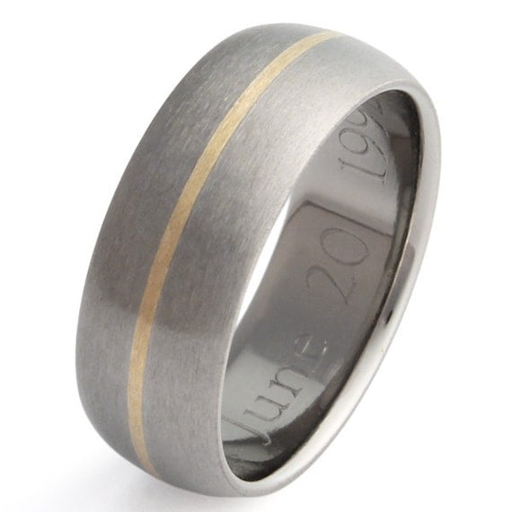 Gold Titanium Wedding Ring - Wide Band with Gold Inlay - g4