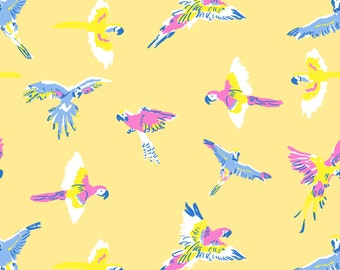 Tropical Parrot Fabric - Parrot Cream By Canigrin - Tropical Summer Beach Parrot Cotton Fabric By The Yard With Spoonflower