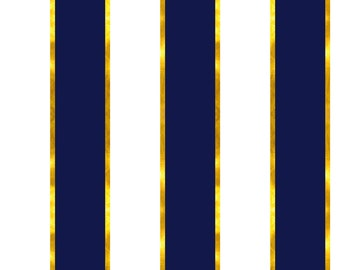Gold and Navy Stripe Fabric - Puttin' On The Ritz Stripe In Navy And Gilt By Willowlanetextiles - Cotton Fabric By The Yard With Spoonflower