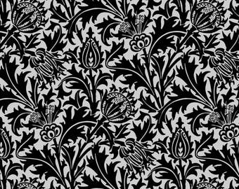 Black Thistle Fabric - Thistle (Black And Gray ) By Studiofibonacci - Black Cottage Chic Cotton Fabric By The Yard With Spoonflower