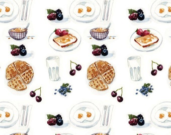Watercolor Waffles Fabric - Watercolor Breakfast By Julieprescesky - Breakfast Kitchen Decor Cotton Fabric By The Yard With Spoonflower